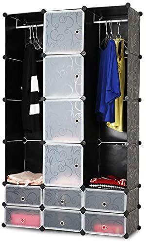 Šatní skříň s 12 přihrádkami, 110 x 37 x 180 cm, černá