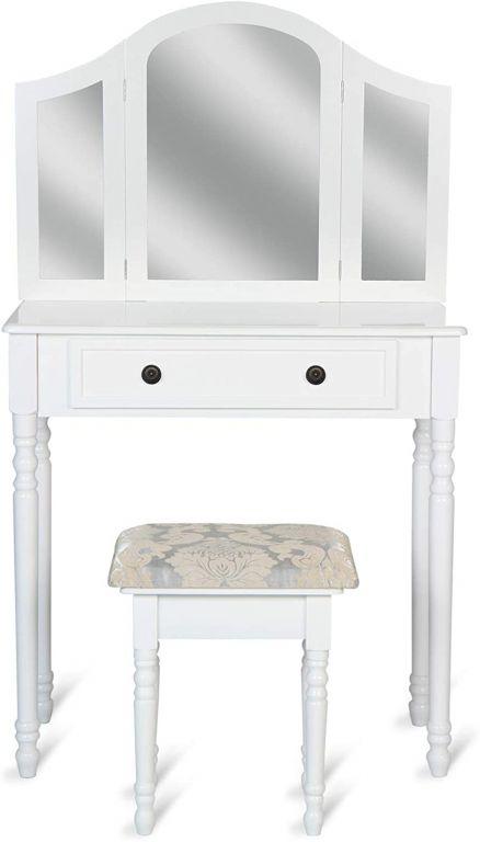 Toaletní stolek se stoličkou, bílý, 80 x 40 x 136 cm