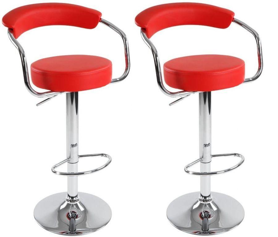 Sada barových židlí 2 ks, červená, 53 x 105 x 52 cm