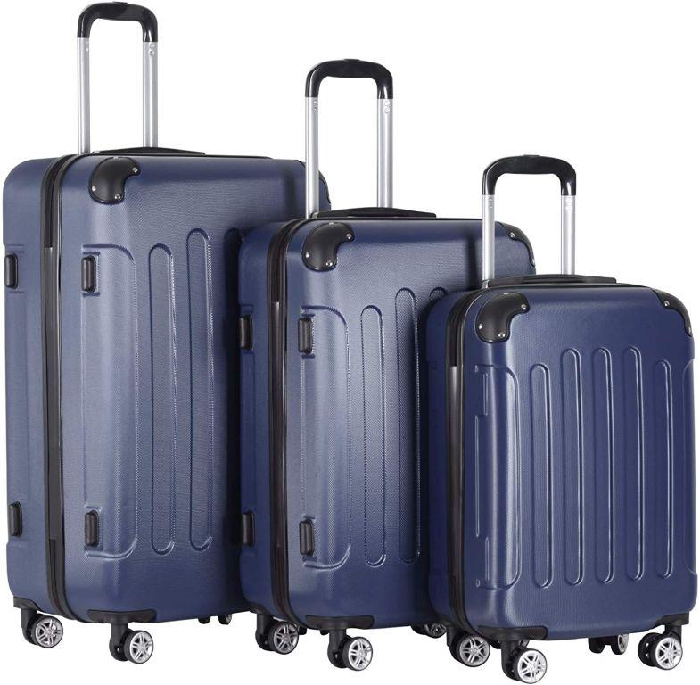 Sada cestovních kufrů 3-dílná, tvrdý plast, tmavě modrá