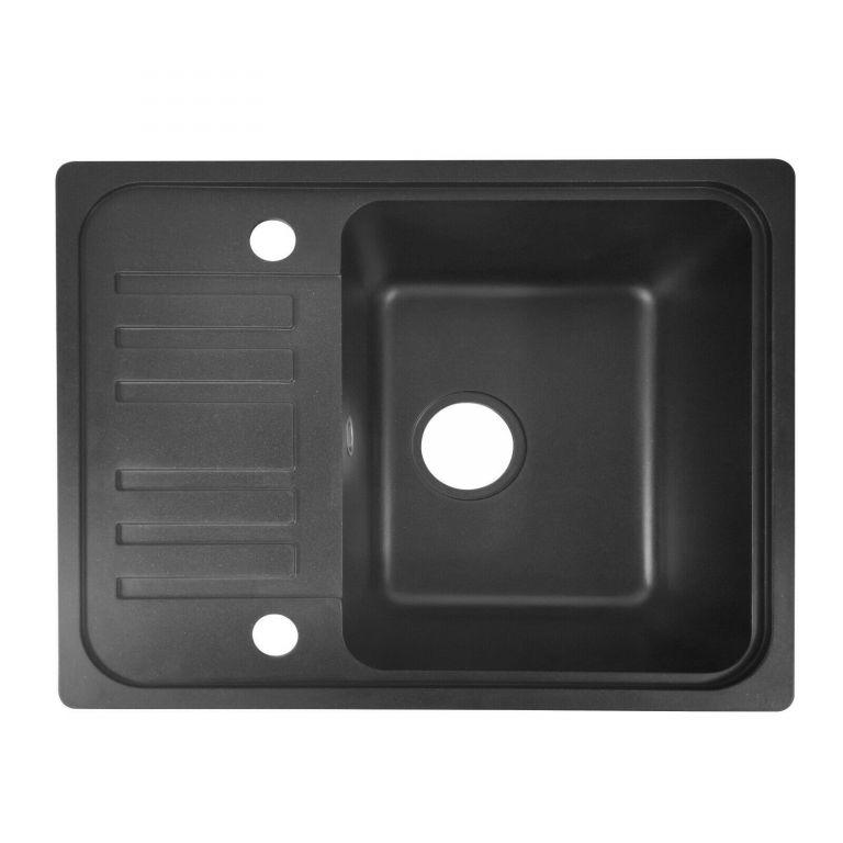 Granitový dřez s odkapávačem, černý, 32 x 19 x 39 cm