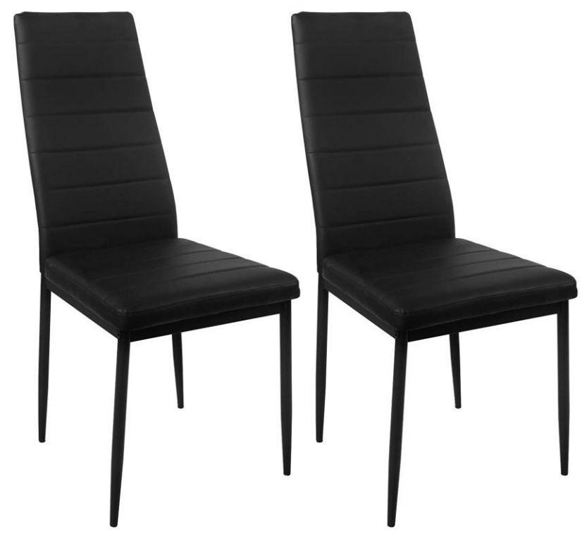 Sada jídelních židlí s PU kůží, černé, 2 ks
