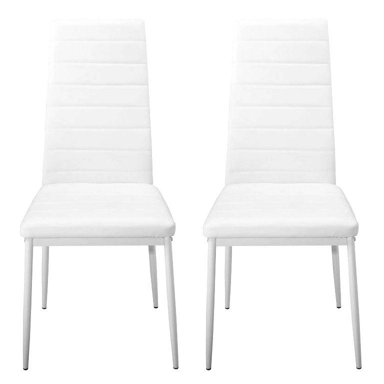 Sada jídelních židlí s PU kůží, bílé, 2 ks