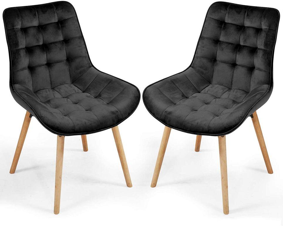 Sada prošívaných jídelních židlí, černé, 2 ks
