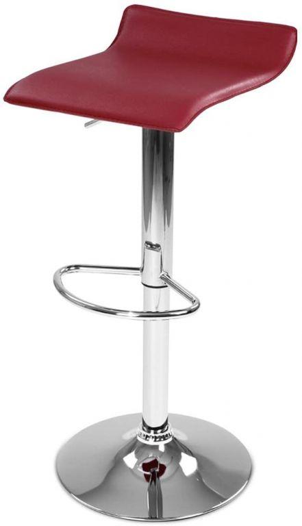 Barová židle z umělé kůže, tmavě červená