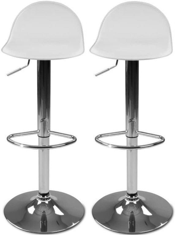 Sada barových židlí s podnožkou, bílá, 2 ks