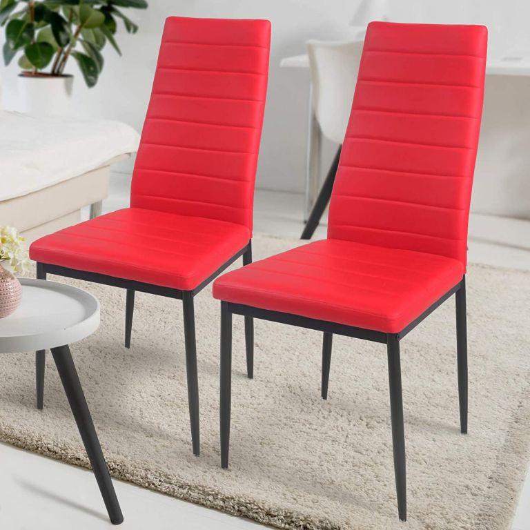 Sada jídelních židlí s PU kůže, červené, 2 ks