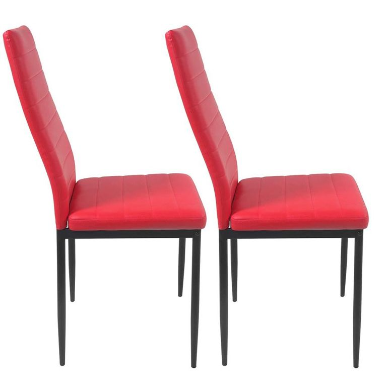 Sada jídelních židlí s PU kůží, červené, 2 ks