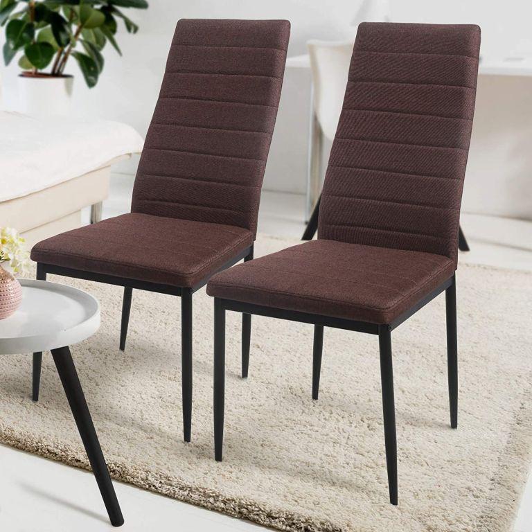 Sada jídelních židlí s PU kůže, hnědé, 2 ks