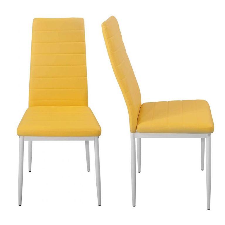 Sada jídelních židlí s PU kůží, žlutá, 2 ks