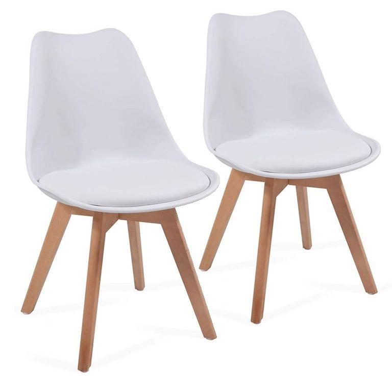 Sada jídelních židlí s plastovým sedákem, 2 ks, bílé