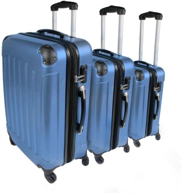 Sada cestovních kufrů 3-dílná, tvrdý plast, ledově modrá