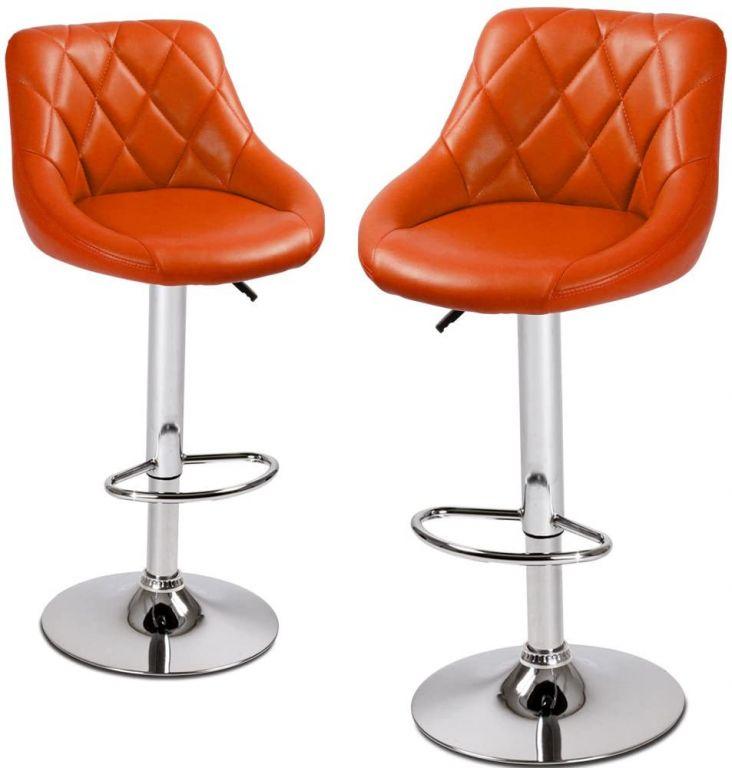 Sada barových židlí, oranžová, 2 ks