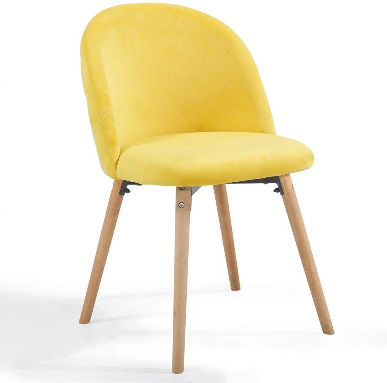 Sada jídelních židlí sametové, žluté, 2 ks