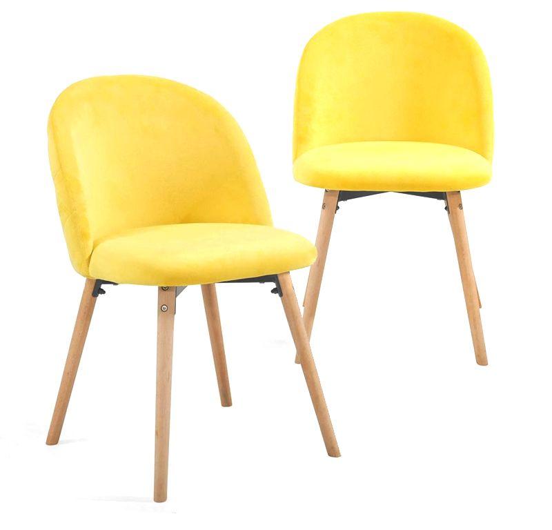 Miadomodo 74814 Sada jídelních židlí sametové, žluté, 2 ks