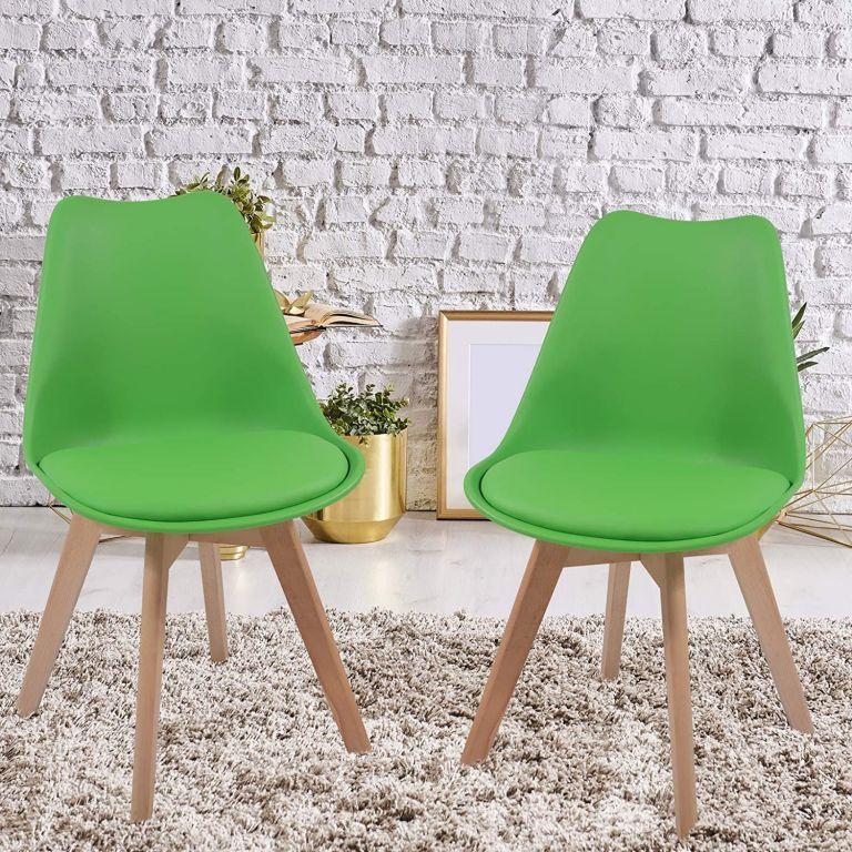 Sada jídelních židlí s plastovým sedákem, 2 ks, zelené