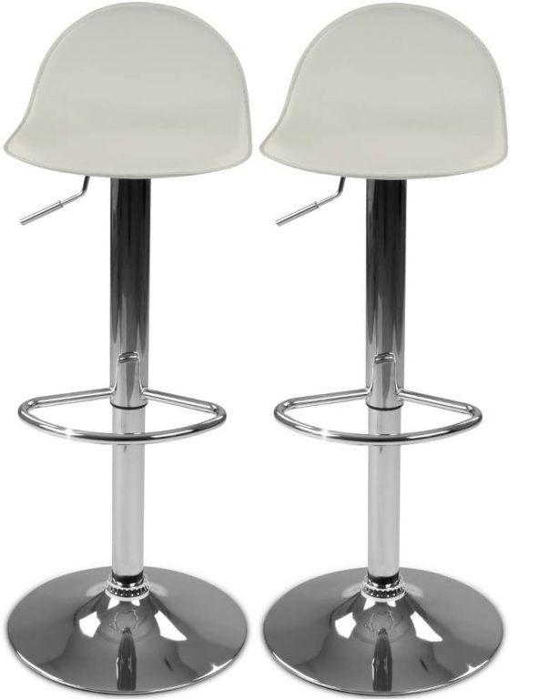 Sada barových židlí s podnožkou, béžová, 2 ks