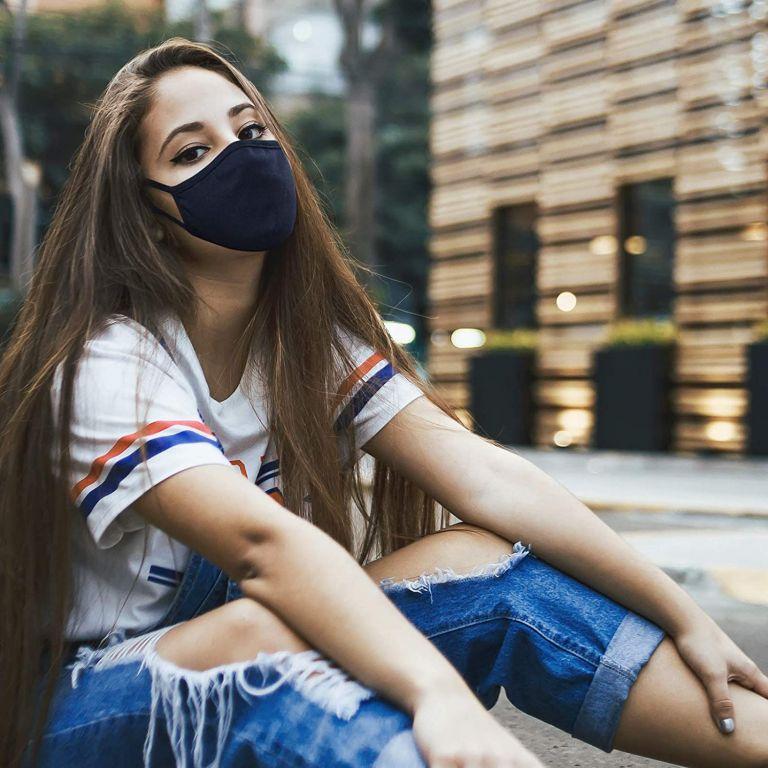 Bavlněná rouška dvouvrstvá - modrá 2 ks