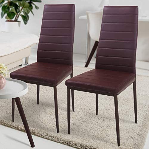 Sada jídelních židlí s PU kůží, hnědé, 2 ks