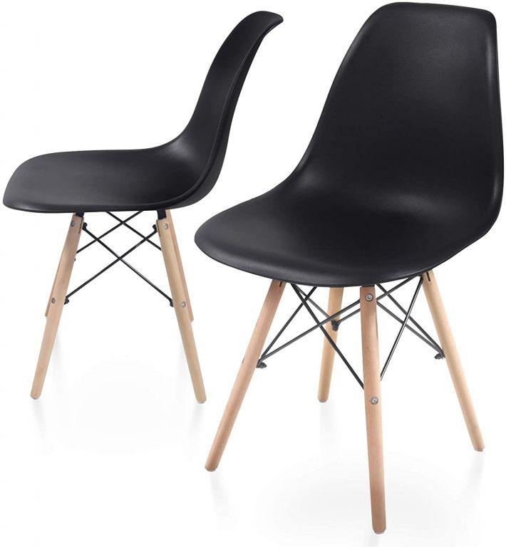 Sada jídelních židlí s plastovým sedákem, 2 kusy, černé