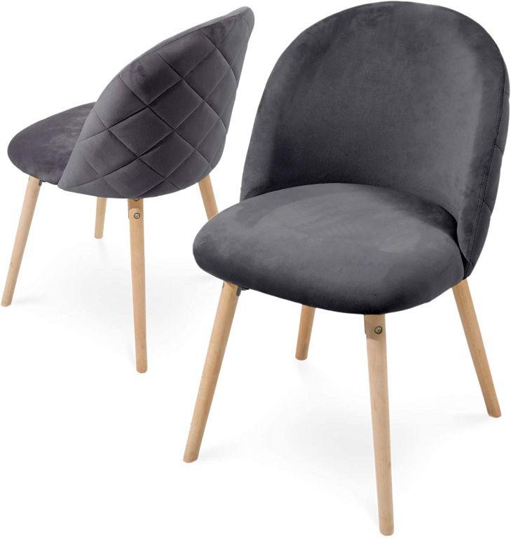 Sada jídelních židlí sametové, tmavě šedé, 2 ks