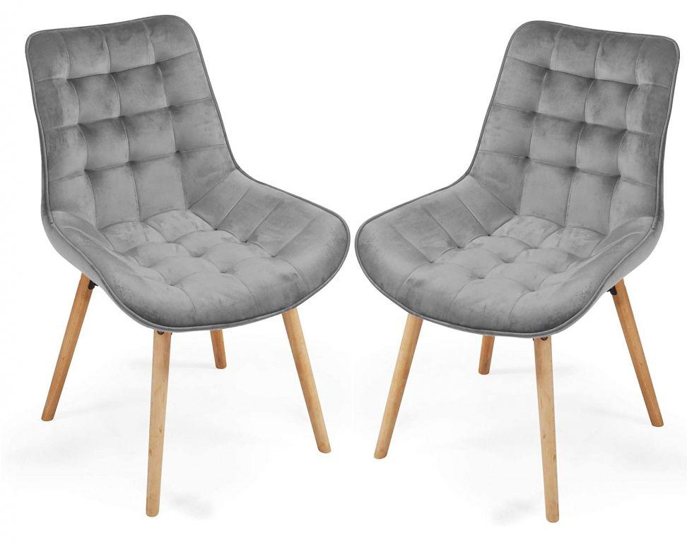 Sada prošívaných jídelních židlí, šedé, 2 ks