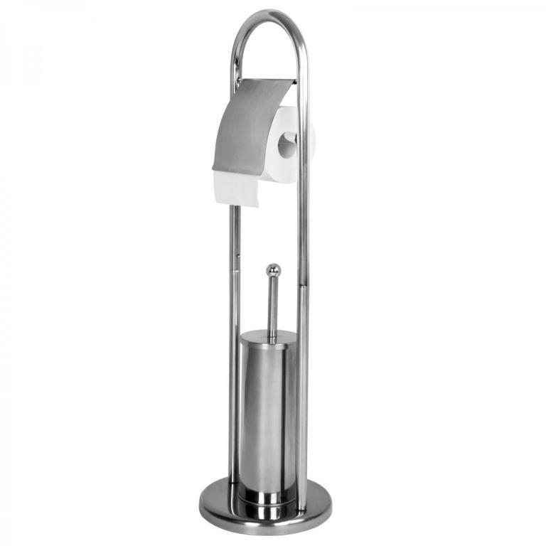 AQUAMARIN Stojanová WC souprava 81 x 22 x 22 cm, stříbrná