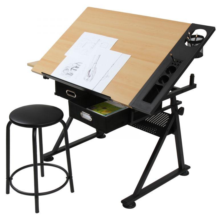 MIADOMODO Psací stůl s policemi, světlé dřevo/černá