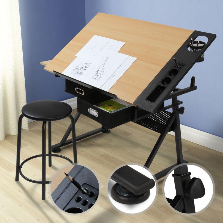 MIADOMODO® Psací stůl s policemi, sv. dřevo/černá