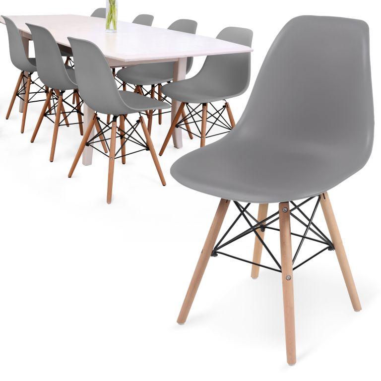 MIADOMODO Sada 8 jídelních židlí s plastovým sedákem, šedá
