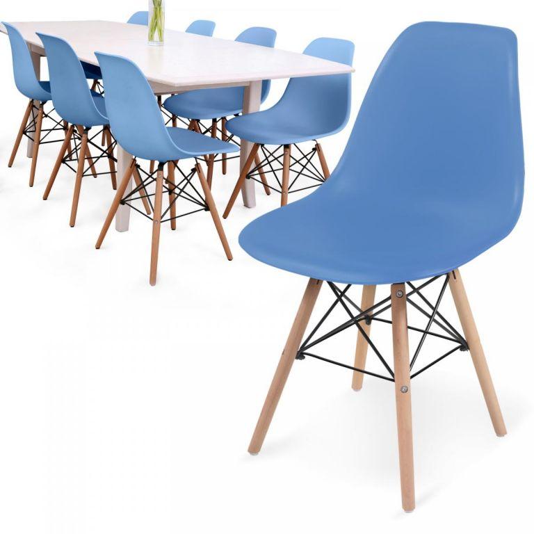 MIADOMODO Sada 8 jídelních židlí s plastovým sedákem, modrá