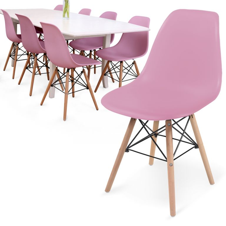 MIADOMODO Sada 8 jídelních židlí s plastovým sedákem, růžová