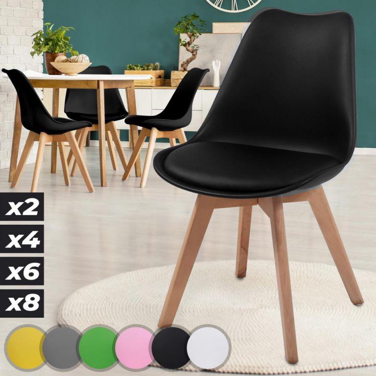MIADOMODO Sada jídelních židlí, 4 kusy, černé