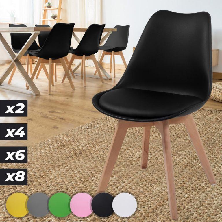MIADOMODO Sada jídelních židlí, černá, 6 kusů