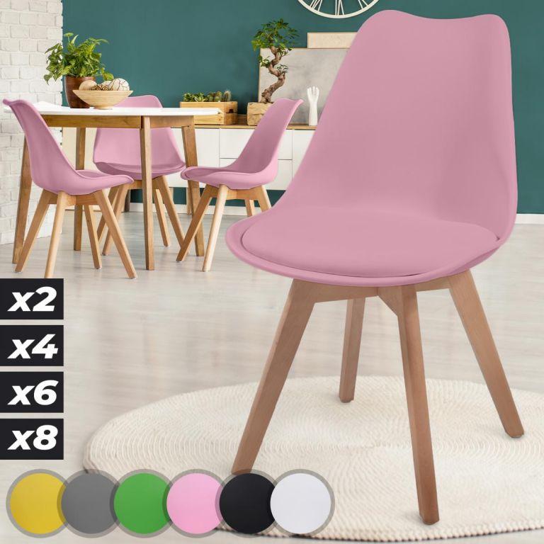 MIADOMODO Sada jídelních židlí, 4 kusy, růžové