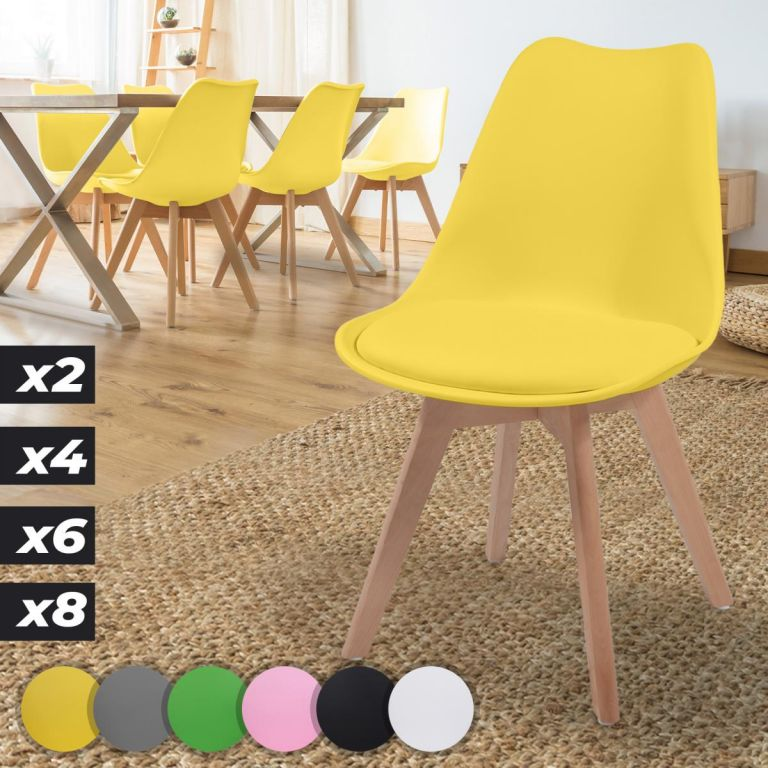 MIADOMODO Sada jídelních židlí, žlutá, 6 kusů