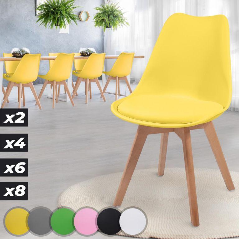 MIADOMODO Sada jídelních židlí, žlutá, 8 kusů
