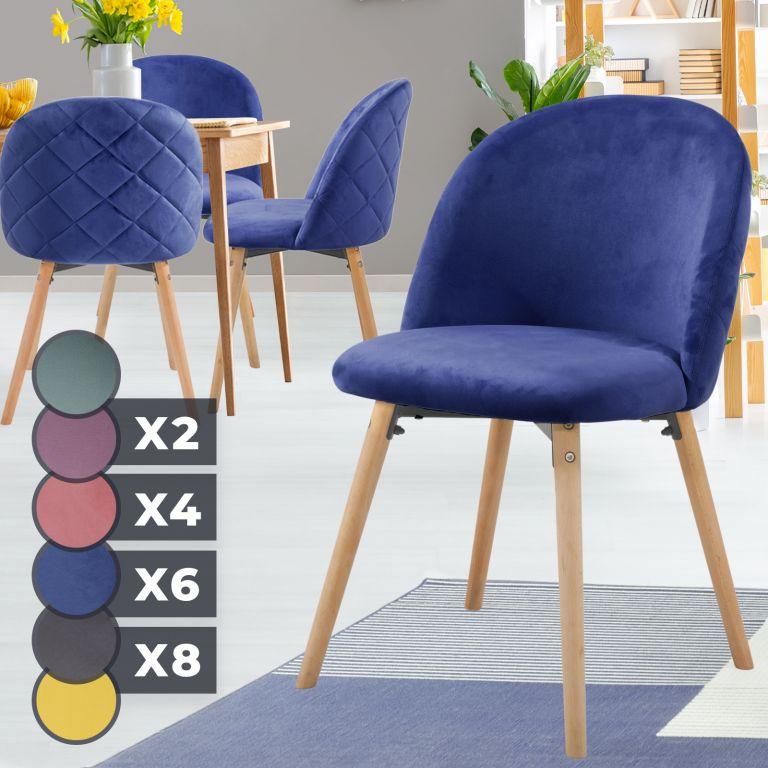 MIADOMODO Sada jídelních židlí sametové, kr. modrá, 4 ks