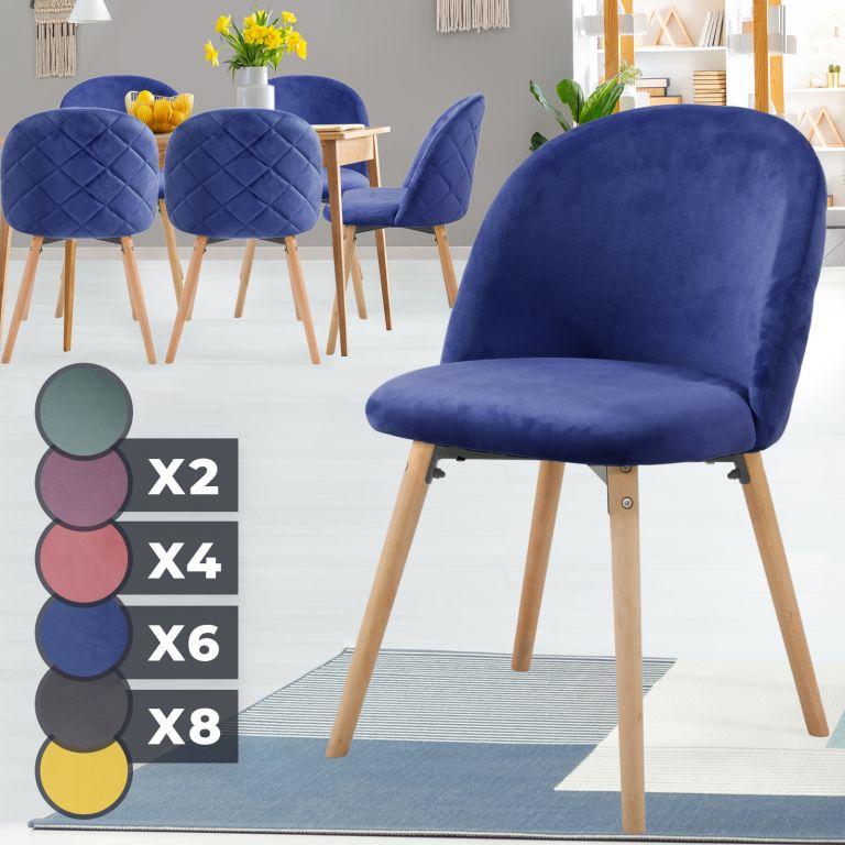 MIADOMODO Sada jídelních židlí sametové, kr. modrá, 6 ks
