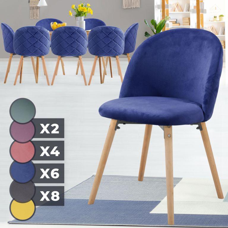 MIADOMODO Sada jídelních židlí sametové, kr. modrá, 8 ks
