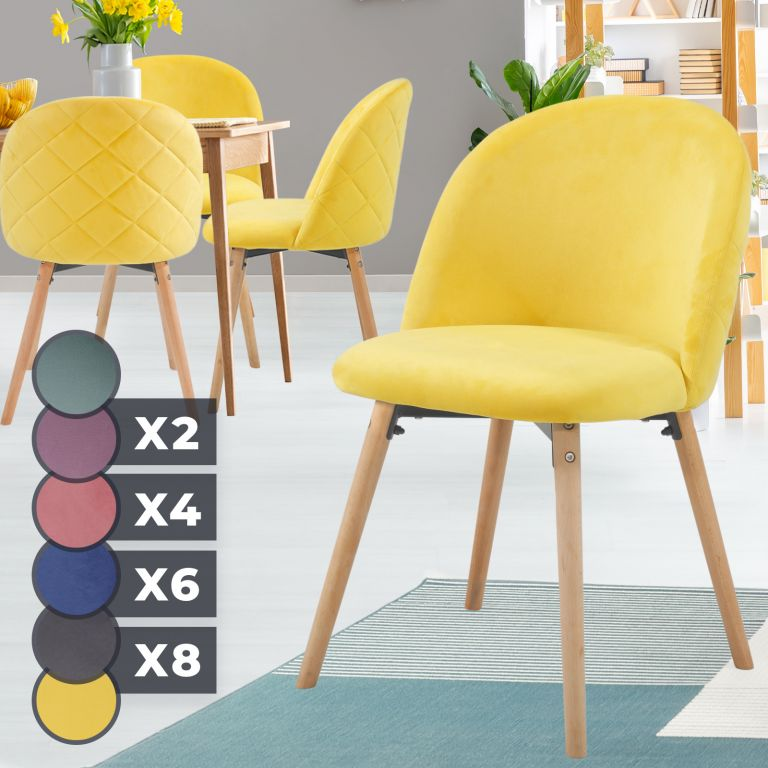 MIADOMODO Sada jídelních židlí sametové, žlutá, 4 ks