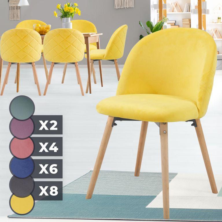 MIADOMODO Sada jídelních židlí sametové, žlutá, 6 ks