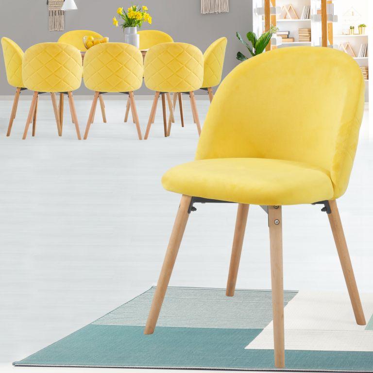 MIADOMODO Sada jídelních židlí sametové, žlutá, 8 ks