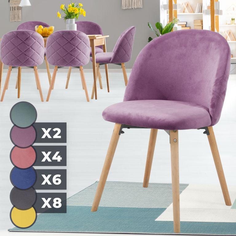 MIADOMODO Sada jídelních židlí sametové, fialové, 6 ks