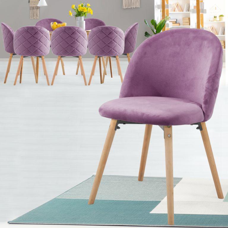 MIADOMODO Sada jídelních židlí sametové, fialové, 8 ks