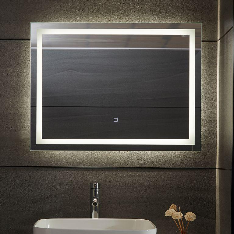 Aquamarin Koupelnové zrcadlo s LED osvětlením 28 W, 80x60cm