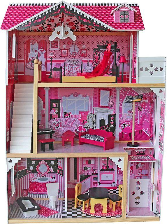 Infantastic Velký dřevěný domeček pro panenky s osvětlením