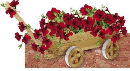 Dřevěný dekorační květináč VOZÍK