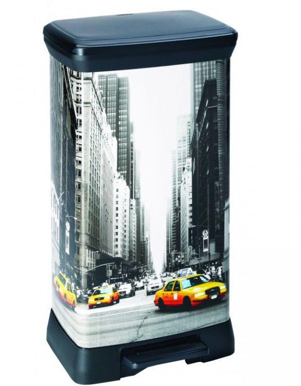Odpadkový koš DECOBIN pedálový 50l – NEW YORK  CURVER