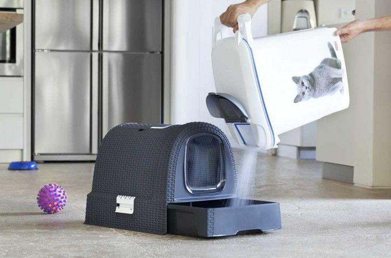 Toaleta pro kočky RATTAN - šedá CURVER
